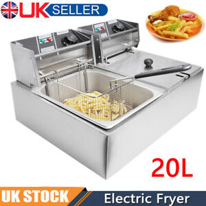 5000W 20L Commercial Electric Deep Fat Chip Fryer Large Tank Stainless Steel UK