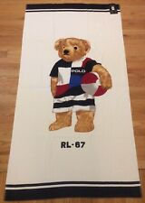 NWT $95 RALPH LAUREN 35X66 White POLO BEACH BALL BEAR 100% Cotton Beach Towel