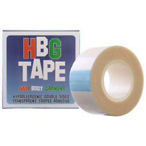 HBG Wig Tape 25mm x 5m roll Hypoallergenic Transparent 2-Sided Toupee Adhesive