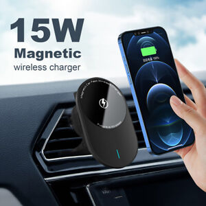 15W Magnetic Wireless Car Charger Holder Bracket For iPhone 12Pro Samsung S21+