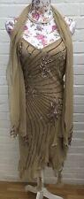 Official Dress 1920s Flapper Scarf Dress Gatsby Party Evening Beige Gold 10/12