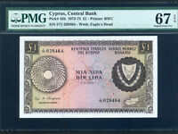 Cyprus:P-43b,1 Pound,1974 * Cyprus Map * PMG Superb Gem UNC 67 EPQ *