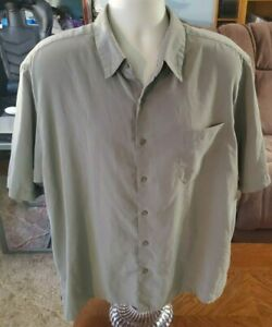 Men's George Sueded Dress Shirt Short Sleeve Tan/Green Color Size XL (Pre-owned)