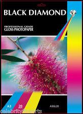 20 Sheets Professional Grade A3 Gloss Inkjet Photo Paper 240gsm Black Diamond