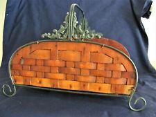 Vintage Woven Wooden Magazine Newspaper Kindling Holder Basket