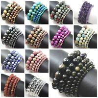 Natural Gemstone Round Bead Bracelet Elastic Bangle wholesale 4mm 6mm 8mm 10mm