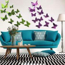 timeless design 70aae 3d93f New 12pcs 3D Mirror Wall Sticker Butterflies Mural Decal Home Fridge  Decoration