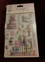 Docrafts Tulip urban rubber stamp Christmas /'Christmas Cake/' dog robin 9x9cm