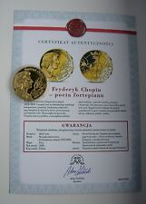 POLISH COMPOSER FREDERIC CHOPIN PIANIST MUSIC MEDAL + certificate LARGE