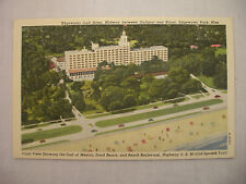 Vintage Linen Postcard Aerial Front View Of Edgewater Hotel In Miss. Unused