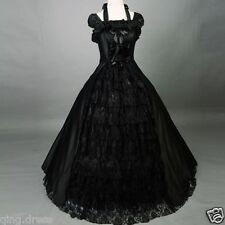 Vintage Black Lace Ball Gown Gothic Evening Dresses Plus Size Prom Party Gown