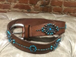 Authentic DENIM & SUPPLY RALPH LAUREN Women's Jeweled Leather Belt Size M
