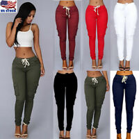 S-4XL Womens Cargo Pants High Waist Jogger Skinny Trousers Pockets Sweatpants US