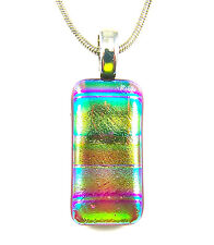 DICHROIC Fused Glass Silver PENDANT Slide Gold Green Red Rainbow Striped Tie Dye