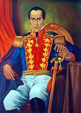 "JOSE GIL ""Simon Bolivar"" ORIGINAL OIL on CANVAS, ART PAINTING HAND SIGNED."