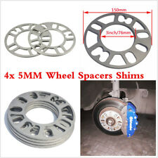 4Pcs Universal 5MM Alloy Car Wheel Spacers Adaptor Shims Plate 4/5 Stud Silver