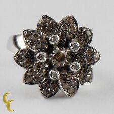 14k Oro Blanco Chocolate/Diamante Anillo Con Flor Tamaño 7 Carat = 1.22ct Regalo