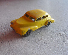 "Vintage 1940s Lead Metal Yellow Sedan Car 1 7/8"" Long Look"