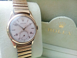 BEAUTIFUL RARE GENTS 1952 SOLID 9K GOLD ROLEX WATCH, SERVICED AND COMES BOXED