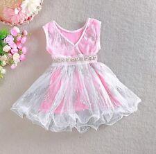 Flower Girl Crystal Baby Dress Princess Vintage Party Wedding Birthday Free Post