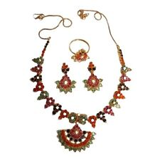 Hand Crafted Navaratna Necklace With Earrings And Ring made with Sterling Silver