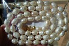 """23"""" 8-10mm white large oval freshwater pearl necklace + gold filled heart clasp"""