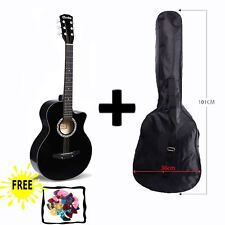 "BLACK Acoustic Guitar Package 3/4 Size 38"" Beginner Student Adult+Picks+Bag UK"