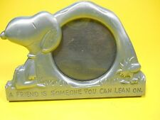 """Snoopy Woodstock Metal Pewter Picture Frame 2x2"""" Schulz Peanuts, a Friend is ."""