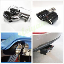 "Glossy Black 76mm/3""Real Carbon Fiber+Steel Car Right Exhaust Dual Pipe Tail Tip"