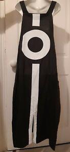 FAB  KEKOO DESIGNER URBAN, LAGENLOOK BLACK & WHITE PINAFORE DRESS, SIZE M-L