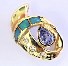 Fine Opal Inlay Gem Tanzanite & Diamond Yellow Gold Pendant 14Kt 2.23Ct