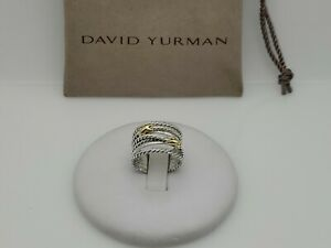 David Yurman Sterling Silver Double X Crossover Ring with 18K Yellow Gold Size 7