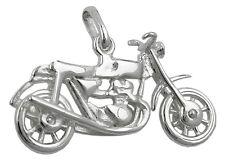 925 ECHT SILBER *** Anhänger, altes Motorrad,  25 mm, glänzend, Räder beweglich