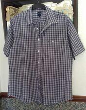 Men's Purple White Cotton Check Shirt  Short Sleeves Size XL James Pringle