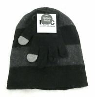 NYC Underground Childrens Unisex Beanie and Gloves Black and Gray One Size