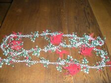 vintage plastic Christmas garland chain flocked  Reindeer sleigh holly 8 feet