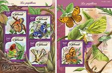 Gibuti Farfalle Insetti Fauna Nuovo senza Linguella Set Timbri