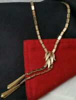 Vintage Box Link Chain Textured Leaves Dangle Metal Tassels Lariat Necklace