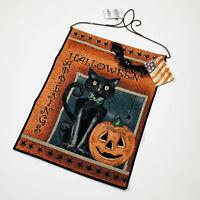 Halloween Happenings Pumpkin Black Cat Bat Tapestry Bannerette Wall Hanging