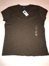 NEW WITH TAGS GAP STRETCH LADIES V NECK TEE Shirt Top Brown - Size Large L