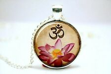 Cúpula de vidrio cabujón con colgante collar cadena Budismo Zen Yoga Ohm Flor De Loto # A