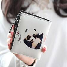 Women Vintage Panda Coin Clip Purse with Zipper Short Wallet Clutch Handbag Gift