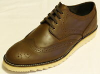 Men's Brown Brogue Waxed Leather Fashion/Leisure Lace up Shoes. UK Sizes 7-11.