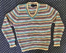 Vintage Givenchy For Chesa Acrylic Knit Multicolor Striped V Neck Sweater L 40""