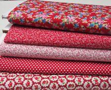 Vintage Rojos Patchwork Pack - 5 Fat Quarters 100% Algodón Tela Acolchar/Craft