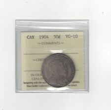 **1904**, ICCS Graded Canadian Silver 50 Cent, **VG-10**