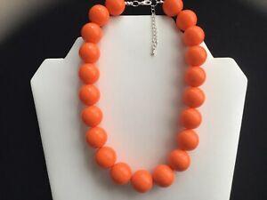 Women's Chunky Orange Bead Choker Necklace