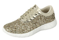 New Womens Sparkling Glitter Lace Up Gym Fitness Trainer Fashion Sneaker Booties