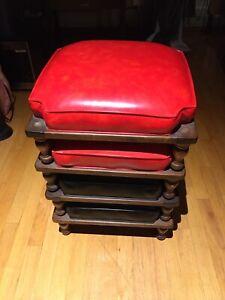 Vintage Ethan Allen Stacking Footstools Red Black- Set Of Four