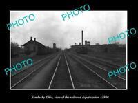 OLD LARGE HISTORIC PHOTO OF SANDUSKY OHIO, THE RAILROAD DEPOT STATION c1940